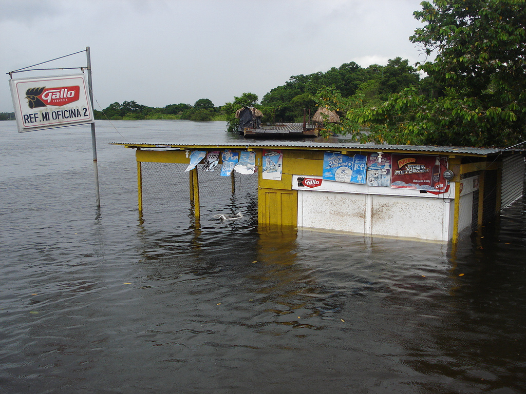 Building surrounded by flood water in Guatemala