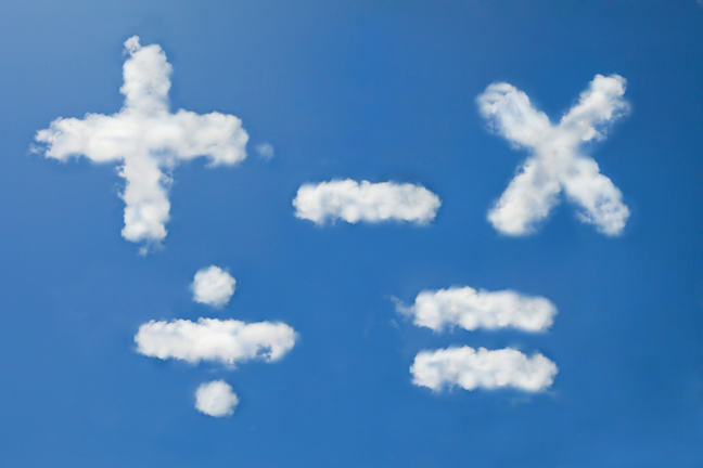 Clouds rendered as arithmetic signs