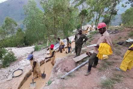 Miners working in Rwanda