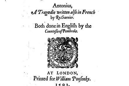 Front cover of The Tragedy of Antony, published in 1592