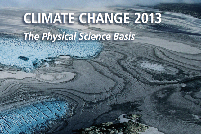 "Front page of the report ""Climate Change 2013"" from the IPCC intergovernmental panel on climate change."