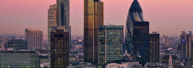 The skyline of the City of London, tall glass clad skyscrapers
