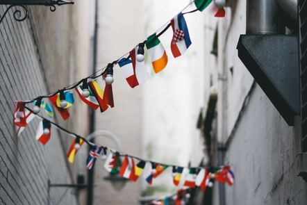Flags hung in a street