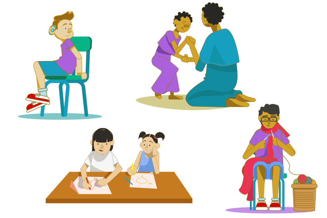 An illustration of our four case study characters. One boy is sat in a chair. A girl a trying to walk with support from her mother. Another girl is drawing with her sister. A teenage boy is knitting.