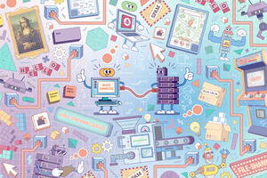 "A PC character and a server character connected by a cable. They both are giving a ""thumbs up"". They are surrounded by items representing the course, including sockets, devices, messages and a pixellated cartoon of the Mona Lisa."
