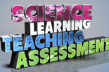 An illustration of the words science, learning, teaching and assessment