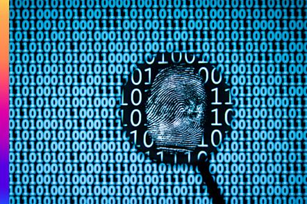 Magnifying glass finding fingerprint in binary background