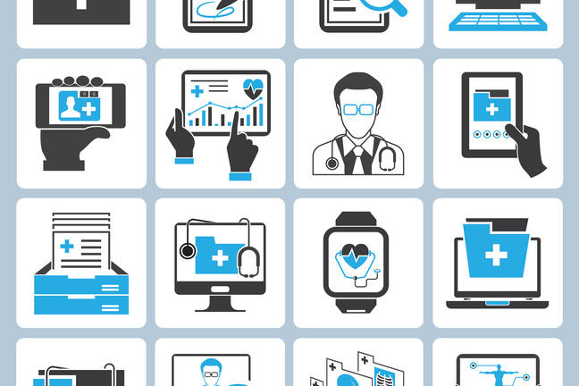 Four rows of four icons are shown, each depicting an image related to medical records.