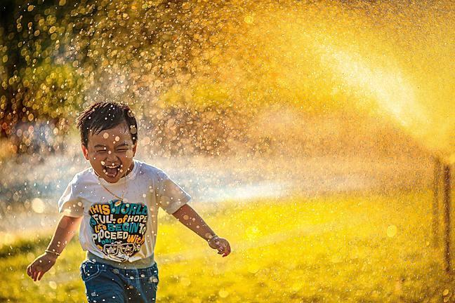 A child running through water