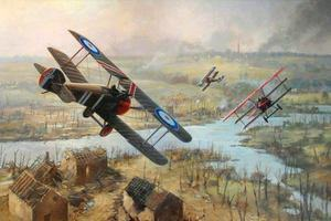 World War 1: Three planes in battle over a destroyed landscape
