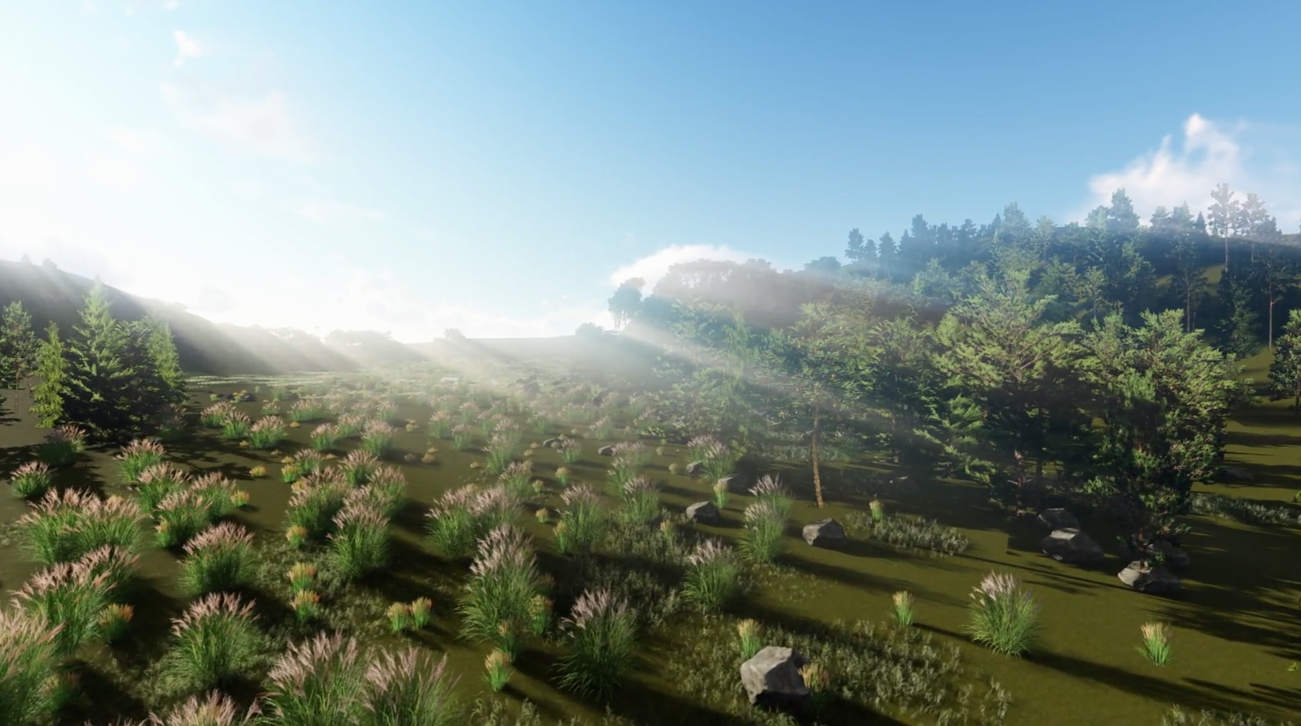 A digital render of green hills with plants and trees scattered across the scene