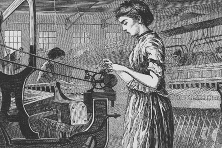 A women working in a nineteenth century textile mill.