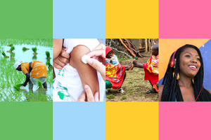 A collage of four images; a woman in a rice paddy field, a child being inoculated, two men smiling and shaking hands, and a woman smiling and listening to music on a set of headphones.