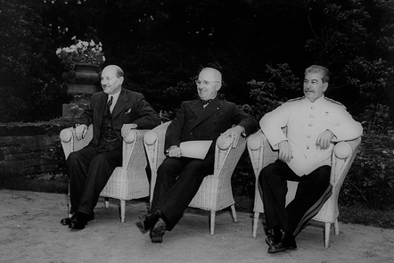 As one war ends: Attlee, Truman and Stalin at the Potsdam Conference in 1945.  Some would argue that the Cold War had already begun when these three leaders of the 'Grand Alliance' met.