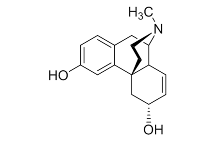 The chemical structure of morphine.