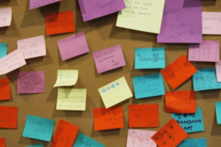 An image of different coloured Post It Notes on a board