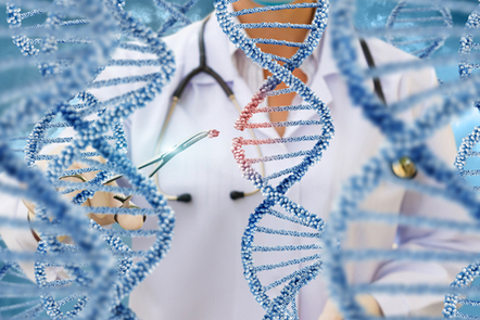 A doctor examines DNA molecules.