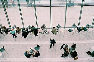 Photo of a busy meeting area