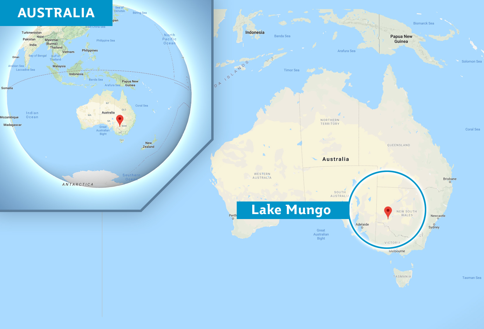 Map of Australia with a marker on Lake Mungo