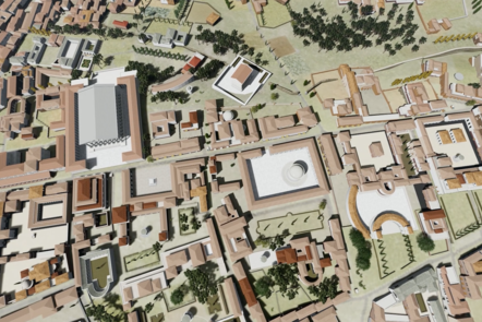 A digital recreation of an aerial map of Rome showing the tops of residential buildings