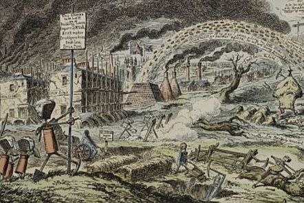 George Cruikshank 'London Going Out of Town' 1829. Regiments of new streets march out of London into the surrounding country led by 'Mr. Goth'. Factories and houses in the background.