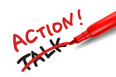 The word 'action' with a red marker