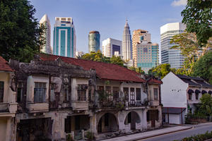 Contrasts of old and new buildings of Kuala Lumpur, Malaysia