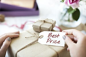 A gift with a label reading 'best price'