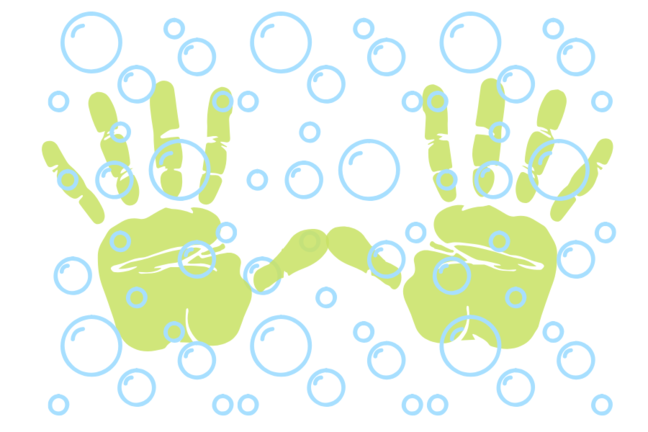 cartoon image of hands and bubbles