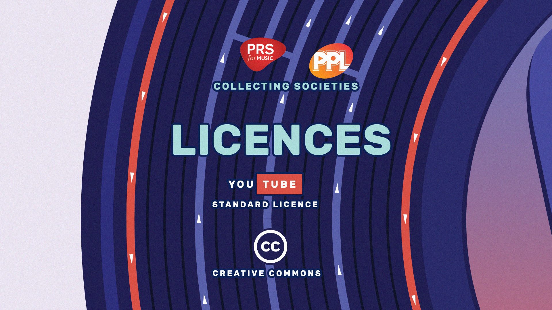 Logos for PRS, PPL, Creative Commons, and YouTube standard licences.