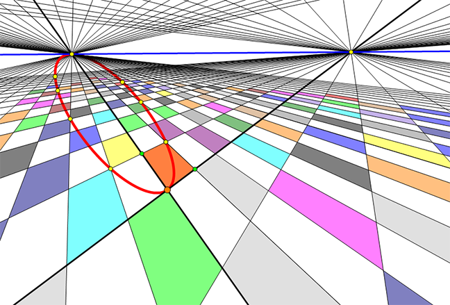 Graph art - a colorful geometric grid showing a parabola and its mirror image