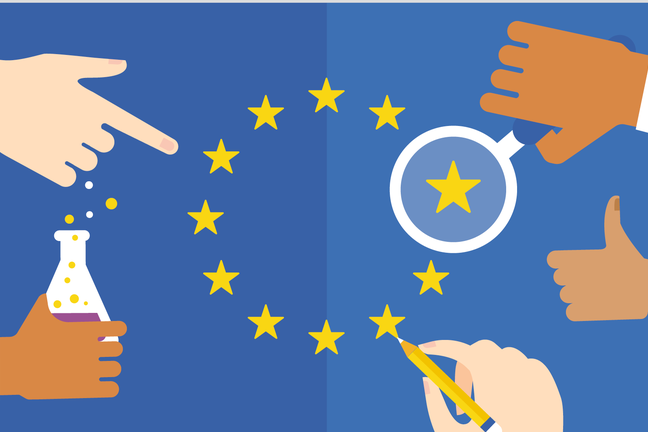 Infographic showing five hands interacting with the EU stars, pointing at one, magnifying another, colouring in another.