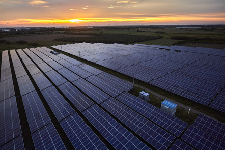 Photovoltaic cells on a sunrise