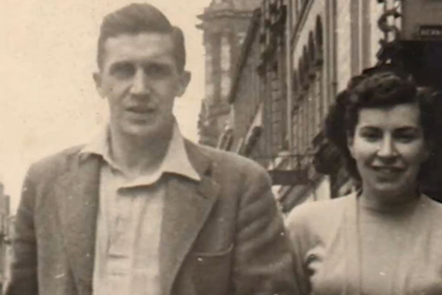 Old family photograph of a young man and woman in the 1950's