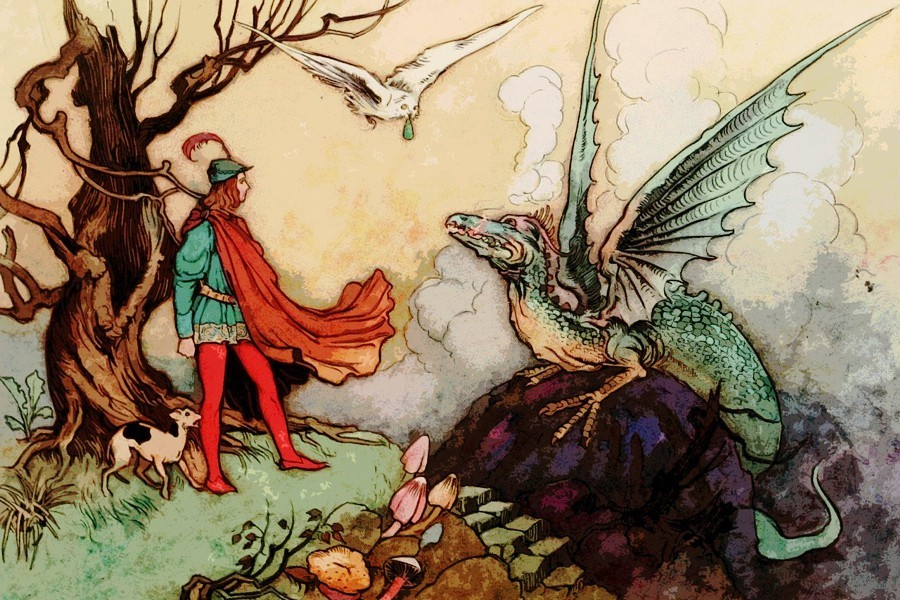 A young knight facing a dragon
