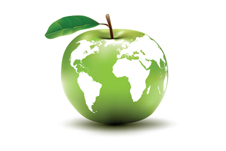 Image of an apple with a world map on it.