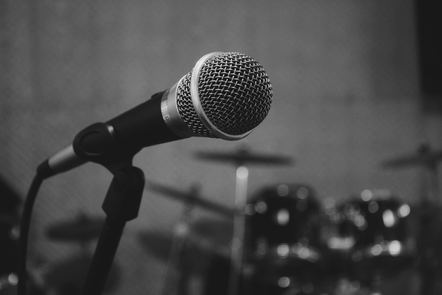 Black and white microphone image