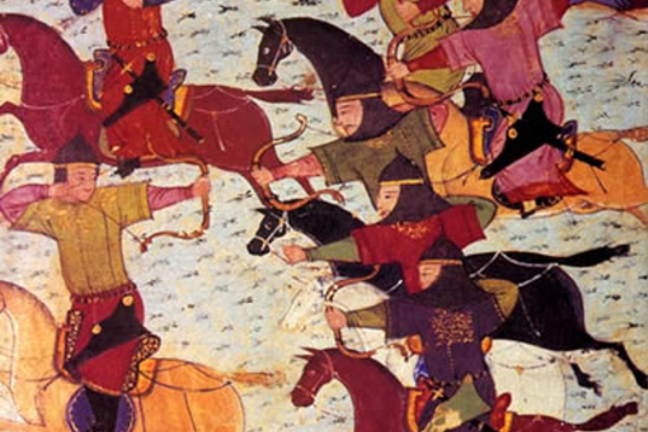Mongol cavalry shooting arrows on horseback; colourful painting.
