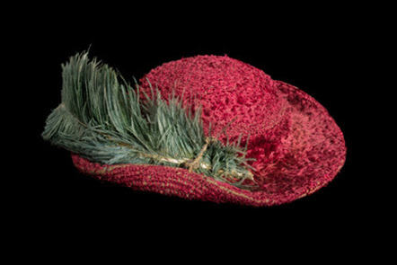 The Bristowe Hat, from the Tudor period . A plum-coloured silk with a green ostrich feather.