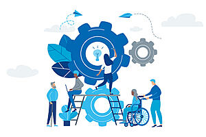 A cartoon image of different sized cogs with some figures including someone in a wheelchair and someone turning one of the cogs