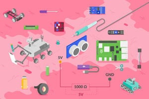 Several images representing parts of the course, including a Raspberry Pi, an ultrasonic distance sensor, a robot buggy, and electronics
