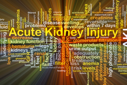 A word map with the words 'Acute Kidney Injury' as the main text. This is surrounded by works including 'disease, swelling, urea, creatinine, reversible, kidney function'.