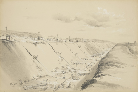 Sketch of the Tring Cutting, part of the London and Birmingham Railway, showing navvies at work. J.C. Bourne 1839.
