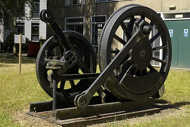 A photograph of Railway Sculpture by Harry Mercer on the University of York campus