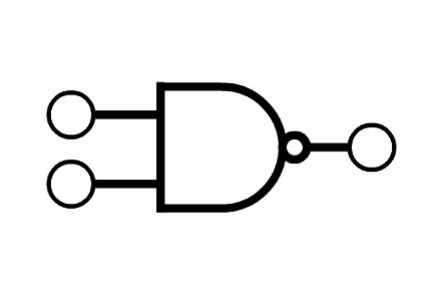 The symbol for a 'NAND' logic gate