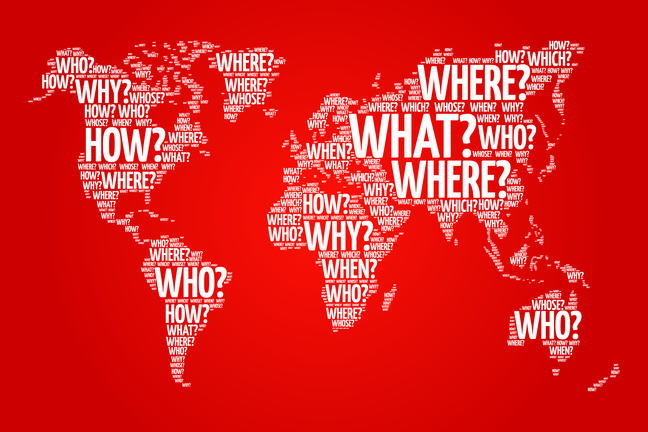 A map of the world with question words superimposed on top.