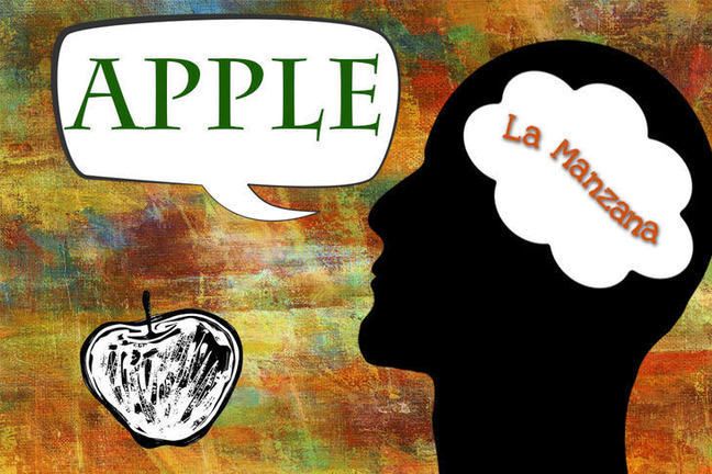 A silhouette of a man looking at and apple with the word 'la manzana' showing in his mind but saying  'apple'.