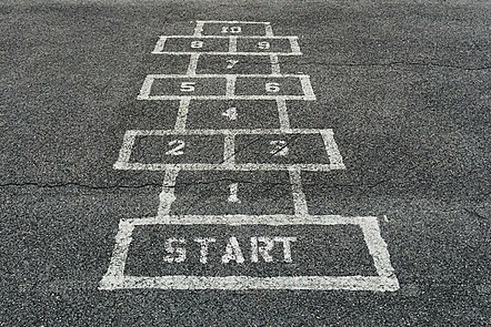 Hopscotch game with start line