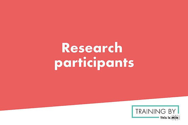 "Header image - Text saying ""Research Participants"" on a Red background"