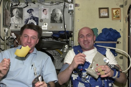 Teaching primary science: humans in space - food and nutrition in space (Astronauts eating in microgravity (c) ESA/NASA)